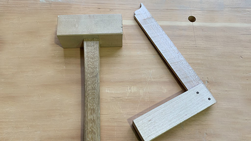 Wooden Square & Mallet by Aaron Lane